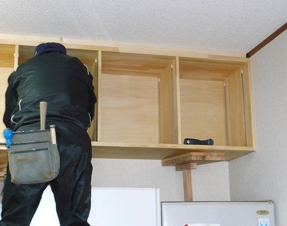 大工と建具工の仕事 収納棚・吊り戸棚製作
