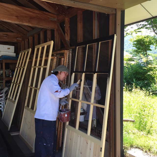 鎌田邸 雪囲い 塗装工事2