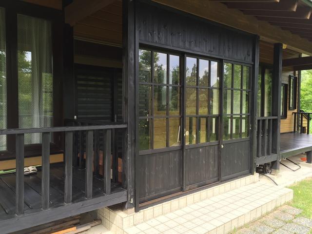鎌田邸 雪囲い 完成 玄関